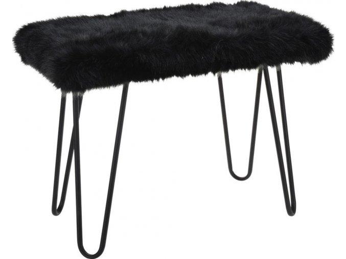 Stolek FUR Design, taburet s kožešinou - černý