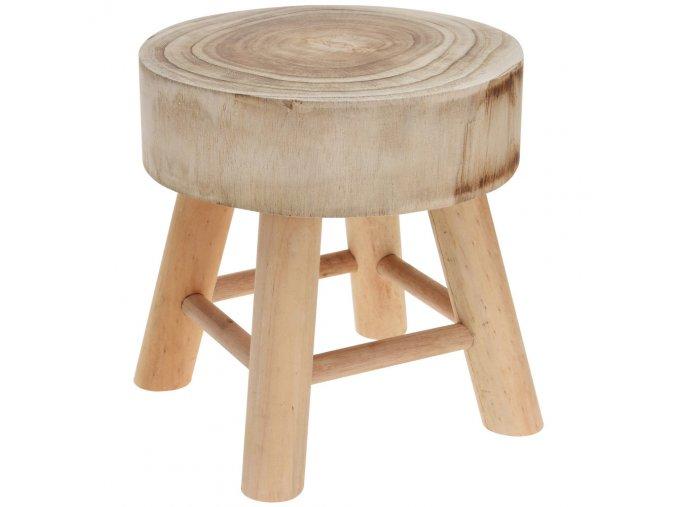 Stolička z přírodního dřeva, kruhová - taburet, sedadlo Home Styling Collection