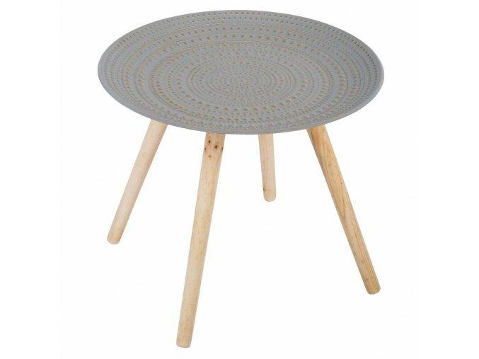 Stolek na dřevěných nohách, kávový stolek s originální plochou