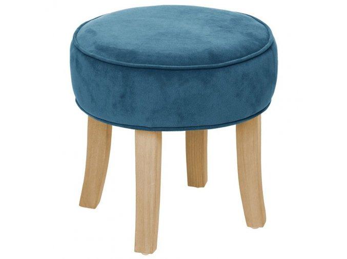 Univerzální stolička, taburet srozměry 35x35 cm, se stabilnímidřevěnými nožkami, kulatý sedák, barva potahu modrá