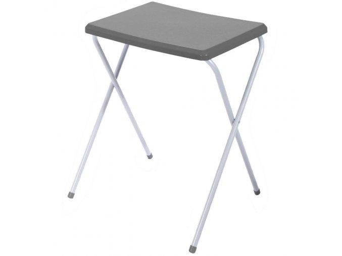 Zahradní skládací stůl s šedého kovu, praktický kus nábytku na balkon, terasu nebo zahradu