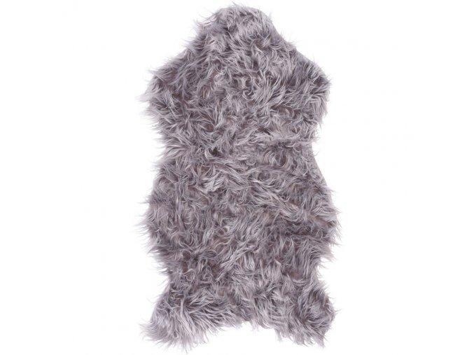 Dekorativní kožešinový koberec v šedé barvě, 50 x 90 cm