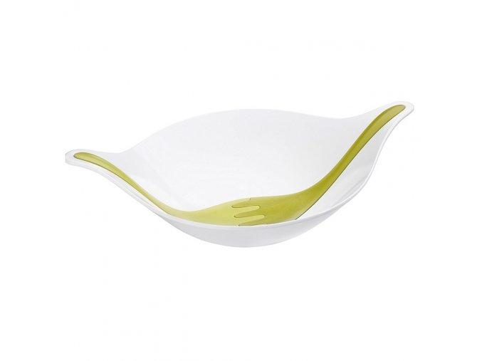 Salátová mísa s příbory LEAF L - olivová barva, KOZIOL