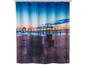 Sprchový závěs, textilní USEDOM s osvětlením LED, 180 x 200 cm, WENKO