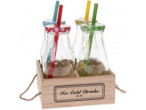 4x sklenice na nápoje + slámka - sada na grilování, piknik, pláž
