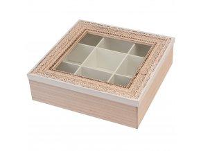 Dřevěný box na čaj 9 přihrádek EH Excellent Houseware