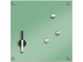 Skleněná magnetická tabule na poznámky MEMO, mentolová barva + 3 magnety, 40x40 cm, ZELLER