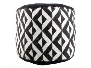 Bavlněný taburet BLACK & WHITE, sedátko, opěrka nohou - 45 x 30 cm