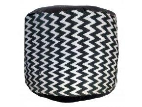 Bavlněný taburet BLACK & WHITE, sedátko, opěrka nohou - 45 x 30 cm Home Styling Collection