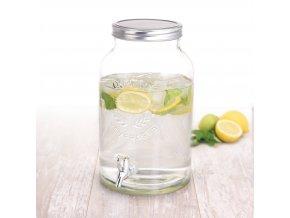 Skleněná nádoba s kohoutkem a víkem - dávkovač nápojů, 5,5 l