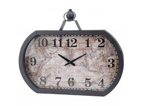 Nástěnné hodiny WORLD MAP, 50 x 40 cm - kovový