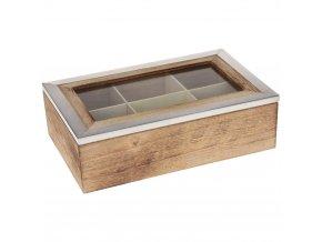 Dřevěný box na čaj, 6 přihrádek