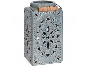 Keramický lucerna ozdobný, dekorativní - barva modrá