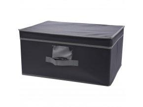 Skládací textilní kontejner s víkem, šedá barva,  31x28 cm