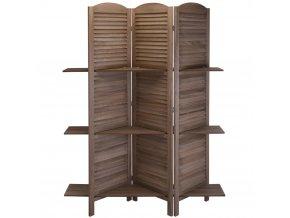 Paravan z poličkami - dřevěný