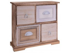 Dřevěná skříňka se zásuvkami na drobnosti, se 4 zásuvkami