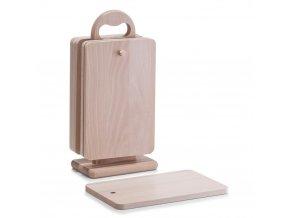 6×obdélníkové prkénko na krájení z bukového dřeva + stojan v sadě, ZELLER