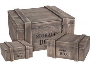 Box pro skladování, dřevěný - 3 ks
