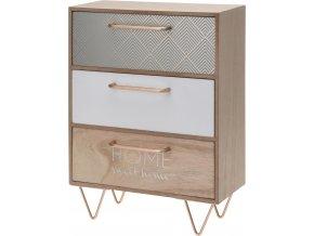 Dřevěná skříňka se zásuvkami na drobnosti, 3 přihrádky
