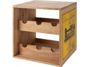 Stojan na víno, kaučukové dřevo , 6 lahví - barva žlutá