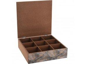 Dřevěný box na čaj FERN DESIGN - 9 přihrádek
