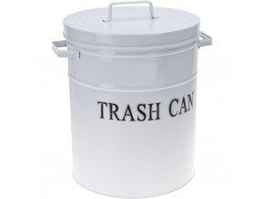 Koupelnový koš, odpadkový koš, kov, TRASH CAN - bílá barva Emako