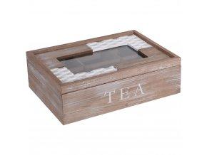 Dřevěný box na čaj, 6 přihrádek, 24x17x8 cm