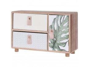 Dřevěná skříňka na drobnosti, se 2 zásuvkami, 1 dvířka