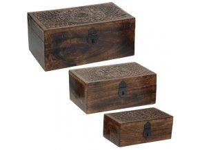 Sada 3 dřevěných boxů - ze tmavého dřeva