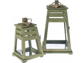 Dřevěná lucerna, zelená barva - 2 ks