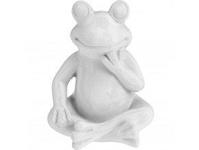 Dekorace na zahradu bílá žába - 14 cm ProGarden
