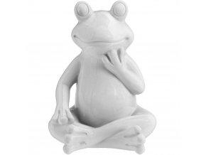 Dekorace na zahradu bílá žába - 14 cm