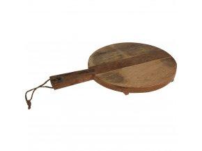 Kuchyňské prkénko pro krájení - kruhové s rukojetí, s nožičkami, dřevo mango