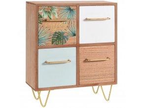 Dřevěná skříňka na drobnosti  TROPICAL LEAF DESIGN - se 4 zásuvkami Home Styling Collection