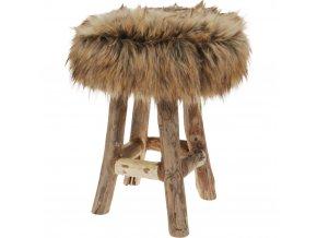 Taburet FUR BROWN, stolička Emako
