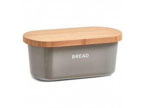 Kontejner na chleba, BREAD  bambusové prkénko - šedá barva, 2v1, ZELLER