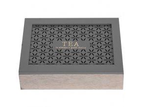 Dřevěný box na čaj  - 6 přihrádek, hnědá barva