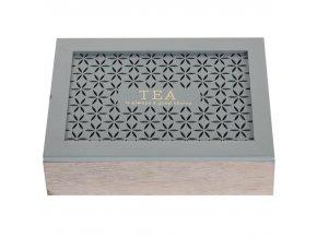Dřevěná krabička na čaj  - 6 přihrádek