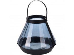 Skleněná dekorační lucerna, na svíčku, modrá barva Home Styling Collection