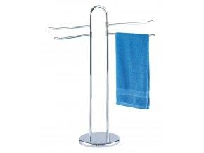 Koupelnový stojanový věšák na ručníky  LUANDO - 4 ramenný, chromovaný