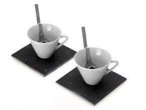 Sada pro 2 osoby:  keramický pohár + vidlička + kamenná podložka