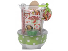 Sada na pečení CUPCAKES: miska, lžíce, košíčky + příslušenství Emako