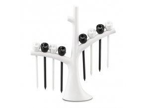 Napichovátka na pro občerstvení, stromeček ELLI - barva bílá/černá, KOZIOL