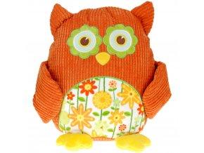 Plyšová sova, měkký okouzlující mazlíček pro děti, oranžová, 28 cm