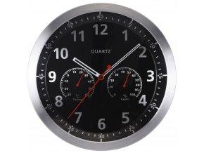 Nástěnné hodiny s teploměrem a vlhkoměrem, hlinik, Ø 35 cm