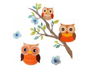 Nástěnná dekorace, samolepící, OWL 3D, 6 ks, WENKO