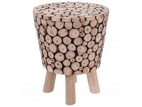 Taburet z přírodního týkového dřeva - stolička, opěrka nohou