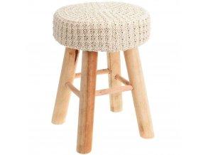 Taburet s měkkou sedačkou, stolek - krémová barva