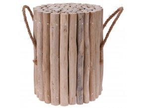 Stolek z přírodního týkového dřeva, kulaté - taburet, podnožka Home Styling Collection