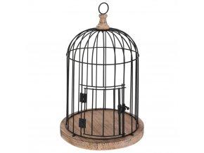 Dekorativní kovová ptačí klece v černé barvě, 40x30 cm